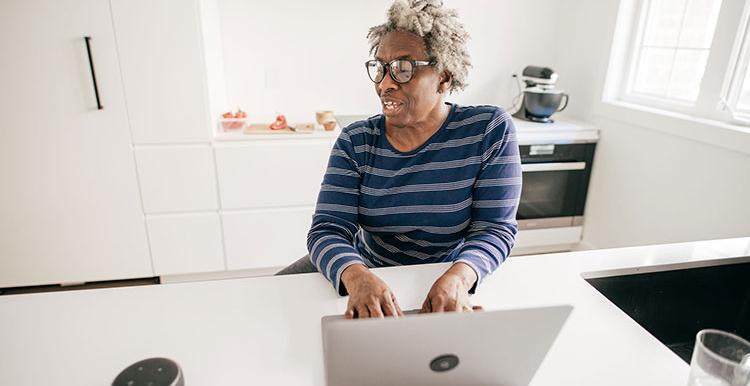 Older Black Woman Laptop