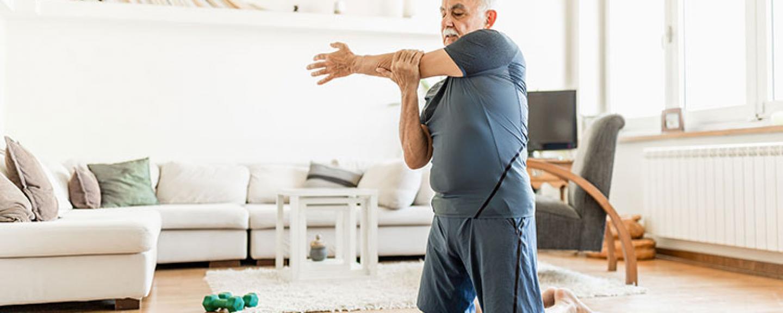 Online exercise at home Older man