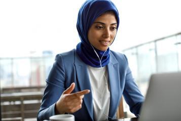Asian Muslim Woman Online Meeting