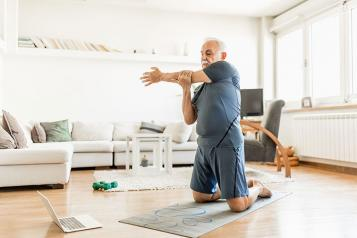 Online exercise at home Older man