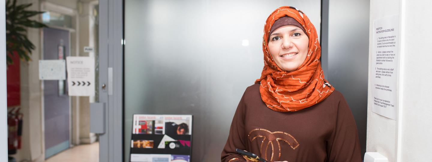 Woman volunteer wearing a headscarf
