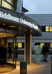 Photo of the main entrance to North Middlesex Hospital